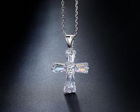Colar Gargantilha Cruz Crucifixo Noiva Zirconia Prata