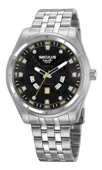 Relógio Masculino Seculus Aço Calendário Prata