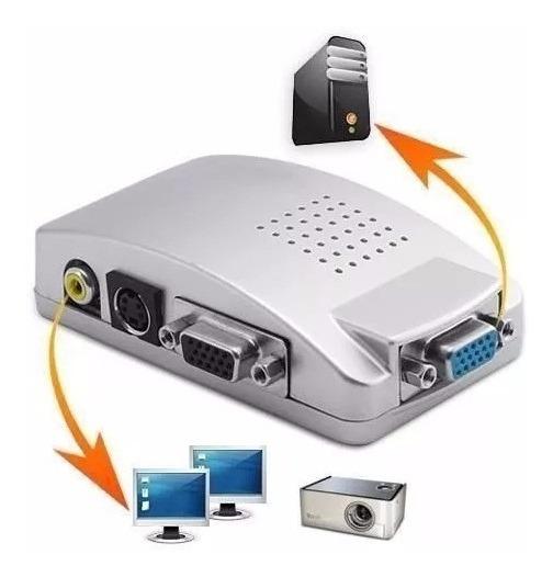 Conversor Adaptador De Vídeo Vga Para Rca Tv Tela S Vídeo Projetor Computador Box Av