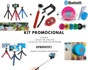 Pau De Self Monopod Com Controle+ Tripé +caixa Som Bluetooth