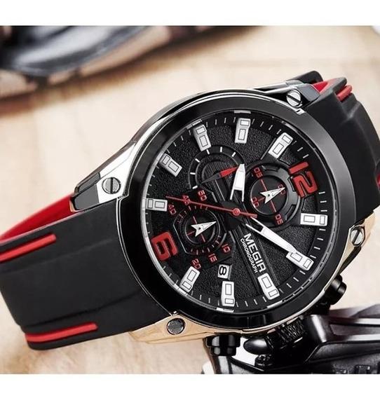 Relógio Masculino Megir 2063 Cronografos Funcionais 3atm Top