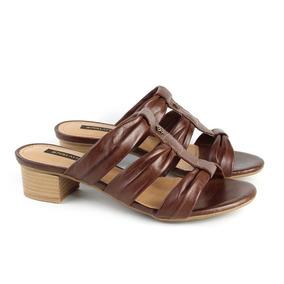 Sandálias Salto Baixo Couro Pinhão Coleção Verão Perlatto