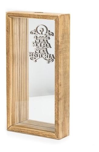 Caixa Porta Rolhas C/ Vidro E Espelho M Pinus Luxo