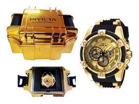 Relógio Invicta Bolt 25526 Resistente Até 100m Dourado/preto