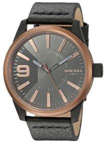 Relógio Diesel Masculino Couro Fundo Preto Dz18410pn