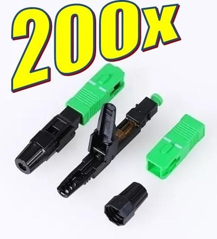 200x Conectores Fast Sc Apc Óptico Fibra Ftth Rápido Verde