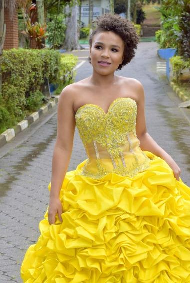 Vestido De Debutante Amarelo Modelo 2 Em 1