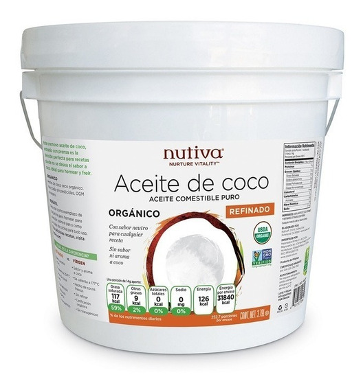 Aceite De Coco Organico Comestible 3.79lts 100% Puro Premium