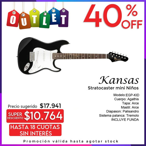 Imagen 1 de 4 de Guitarra Kansas Stratocaster Mini Niños Eg-kid Envio Outlet