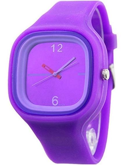 Relógio Jelly Ss.com Esporte Roxo Pulseira De Borracha