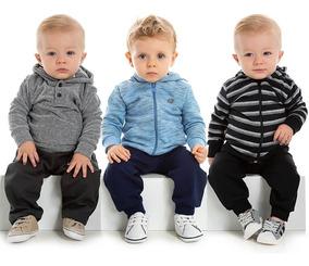 Kit 3 Conjuntos Moletom Bebê Calça E Blusa Roupa Menino Frio