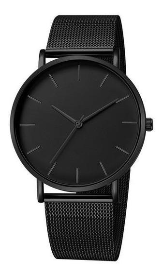 Relógio Masculino Preto Pulseira De Aço
