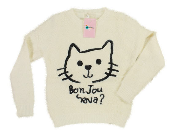 Sweater Sueter Nena Bordado Pulover Gatito Regalosdemama