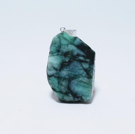 Pingente Chapa De Pedra Esmeralda Natural 3cm