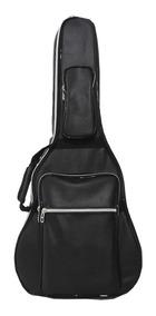 Capa Bag Acolchoada Violão Folk Até 12 Cordas Couro Premium