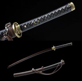 Espada Katana Samurai Afiada Forjada Corte Lâmina Negra T10