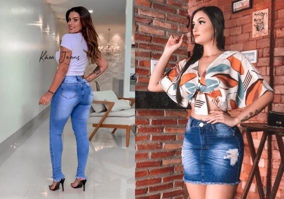 Jogo Calça E Saia Jeans Cintura Media Tamanho Curta- Premium