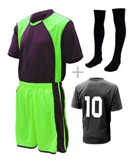 Jogo De Uniforme Completo Camisa Calção Meião 18 + 02 Pçs