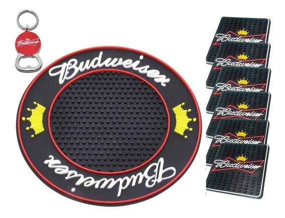 Bar Mat Budweiser Preto Redondo + 6 Descansos Copos + Brinde