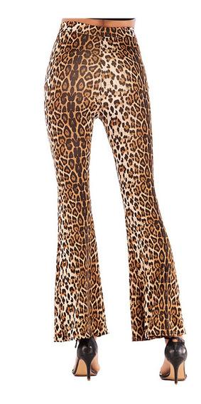 Calças Soltas Das Mulheres Leopardo Grão Bandage