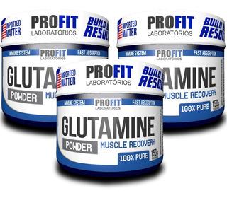 Kit 3 Glutamina 150g Cada - 100% Pura - Profit Labs