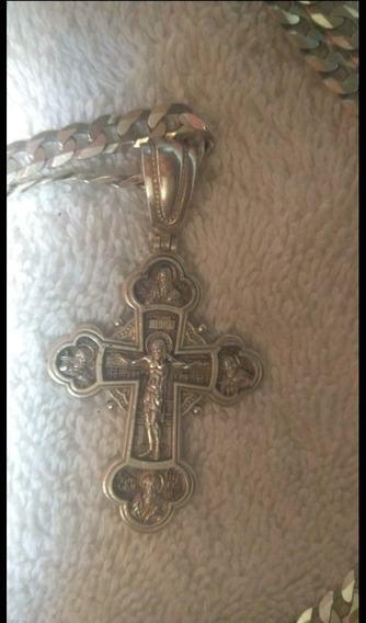 Cordão Prata 925, 80cm, Com Crucifixo Grego Ortodoxo Russo