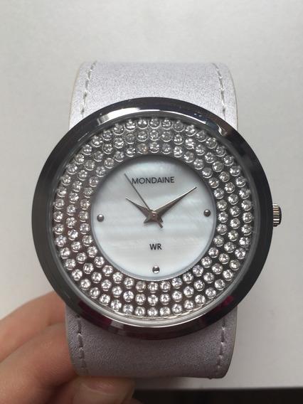 Relógio Mondaine Feminino Branco Com Madrepérola E Strass