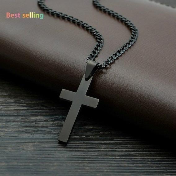 Crucifixo Preto Com Corrente 60 Cm Titanium Cruz Presente