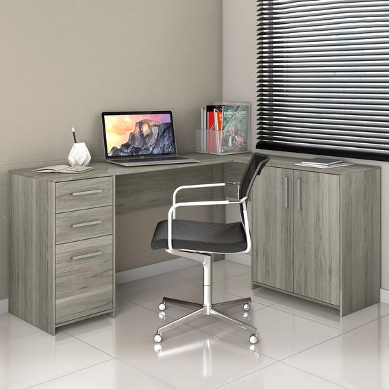 Mesa Escritório Escrivaninha Em L Office 2 Gavetas Carvalho