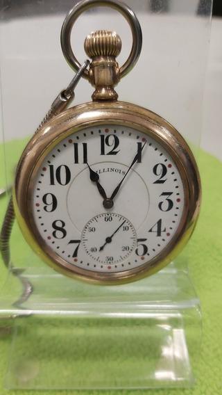 Reloj Ferrocarrilero Illinois Maquinaría Funcionando.