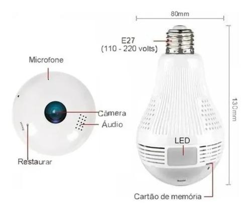 Imagem 1 de 2 de Camera Ip Seguraca Lampada Vr 360 Panoramica C/visão Noturna