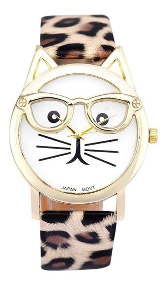 Relógio Infantil E Feminino Gato Gatinho Couro Bonito Barato