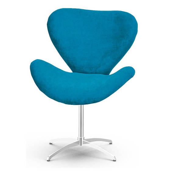 Poltrona Decorativa Swan Azul Turquesa - Giratória