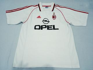 Camisa adidas Ac Milan Away Branca Opel 1998-1999 #s/n Tam G