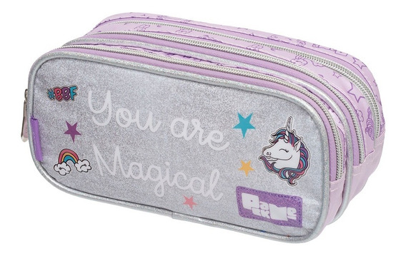Estojo Triplo Pack Me Unicornio Magical Prata Pacifc 948s15