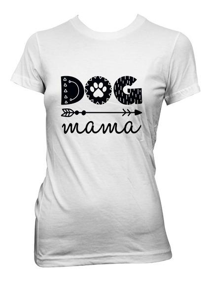 Playera Blanca De Algodón Con Diseño Dog Mama.