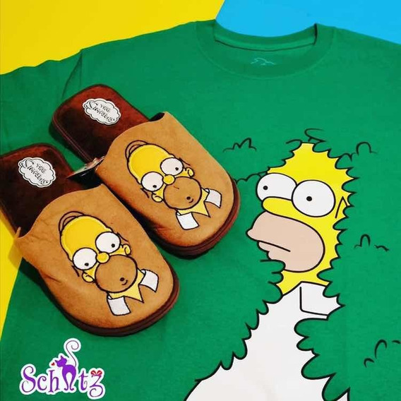 Pantuflas Homero Simpsons Combo Playera + Pantuflas