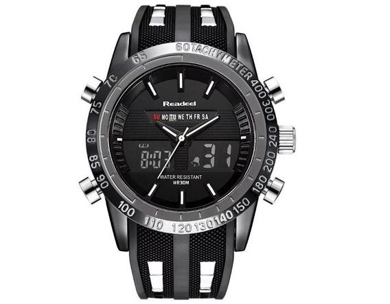 Relógio Pulso Silicone Masculino Dual Time Aço Inoxidável