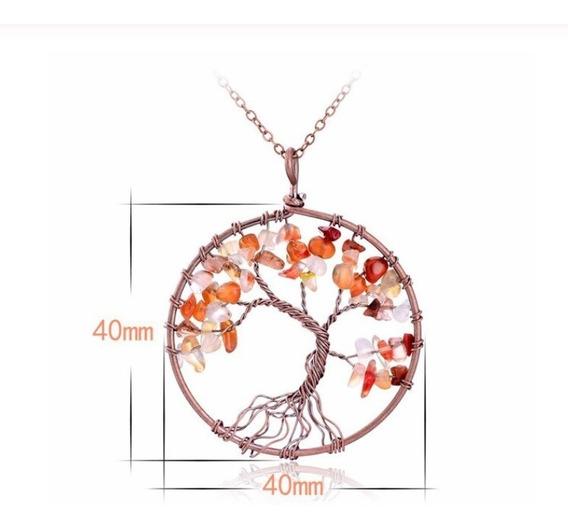 Colar Pedra Cristal Árvore Da Vida Ágata Vermelho Promoção
