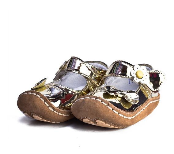 Zapatos Charol Oro Para Niñas Delin Kids 010 Tallas 10-12