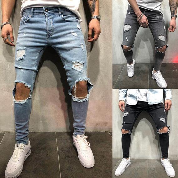 Pantalones Vaqueros Ajustados Rotos Mercadolibre Com Mx