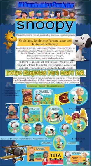 Kit Imprimible Candy Bar Snoopy 3d Más Regalos..!!!