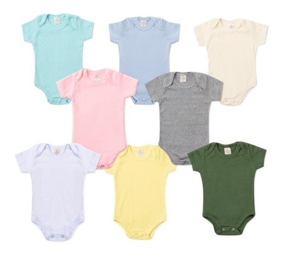 Kit 15 Body Bebê Liso Suedine 100% Algodão P Ao G