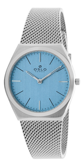 Relógio Feminino Slim Prateado Com Fundo Azul Claro Oslo +nf