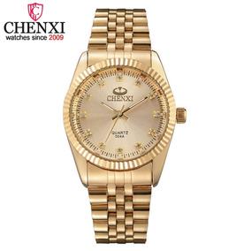 Relógio Analógico Dourado Feminino Chenxi Original