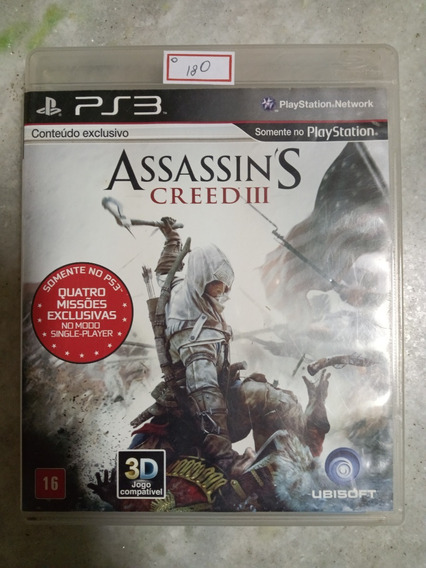 Jogo Sony Ps3 Assassins Creed Iii Original Lote180