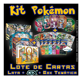 Kit Pokémon - Box Temática + Lata + Gx + 50 Cartas + Brinde