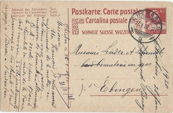 Suiza Tarjeta Postal Año 1920 Historia Postal
