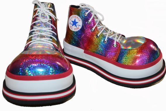 Zapatos De Payaso Profesional Multicolor - Plata