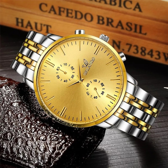 Relógio Masculino Orlando Dourado Luxo Negócios